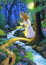 Kittens cat fairy angel forest moon fantasy landscape OE aceo print art