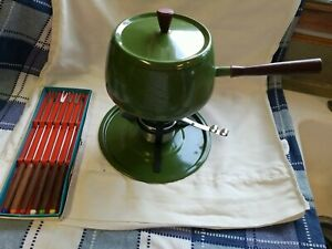 Vintage 70s Fondue Set Avocado Green with 6 Forks