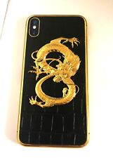 24K Gold Dragon Croco leather customized on iPhone  X 256GB Unlocked smartpho