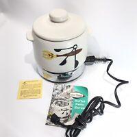 1969 West Bend 2 QT. Stoneware Bean Pot Patio Server Slow Cook Electric Fondue