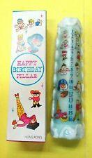 "Vintage FUN Happy Birthday Pillar Candle-Ages 1-16 8 1/4"" tall w/Box-Unused"