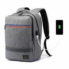 USB Laptop Backpack Waterproof Large Capacity Business Canvas Rucksack 15.6 Grey