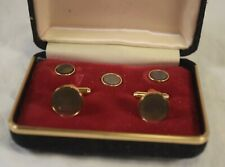 BD-025 Schriver's Cufflink Set, With Abalone Shell Wafers in Box Vintage