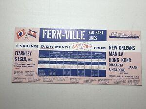Vintage Fern-Ville Far East Lines New Orleans Manila Hong Kong Japan Ink Blotter