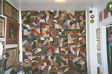 Velcroed for Hanging - SEGMENTED CRAZY (ABSTRACT) QUILT w.Corner Fans, C 1900