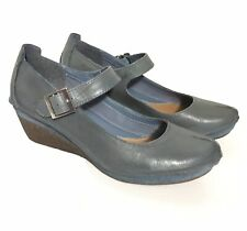 Clarks Leather Teal Blue Forest Glade Wedge Mary Jane Shoes UK 5.5 eu 38.5 VGC