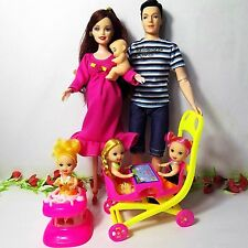Educational Real Pregnant Doll 8 PCS Mom Dad Baby Son Carriage Girls Toys Best