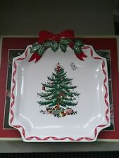 RARE Spode Christmas tree Ribbons canape plate boxed.  New. Hand painted.