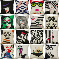 "18"" Art Abstract Printing Cotton Linen pillow case Cushion Cover Sofa Home Decor"