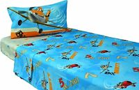 Disney Planes 3 Piece Twin Single Bed Sheet Flat Fitted Dusty Plane Play Fly Fun