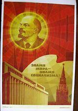 Vintage 1988 Socialist Russia Propaganda Poster w/ Lenin from 1988