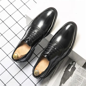 Mens Fashion Casual Business Office Dress Pu Leather Shoes Brogue Wedding Oxford