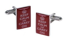 Keep Calm and Carry On  Motto Cuff Links NEW Cufflinks in gift box 15880