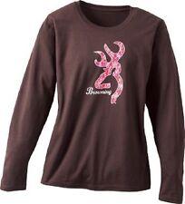 Browning Ladies Chocolate Long Sleeve T-Shirt, Pink Buckmark