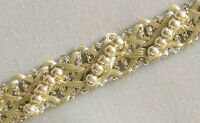 5 Yards. Metallic Trim with Beads. Light Gold. Braid, Lace, Ribbon