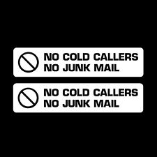 2x No Junk Mail / Cold Callers Black on white Letterbox Sticker - Transfer