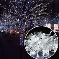 10M LED Weiß 100LEDs Lichterkette Strip außen Weihnachten Eisregen Eiszapfen