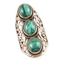 Boho Handmade Copper Malachite 3 Stone Ring Jewelry Gift For Women Size 8 Ct 11