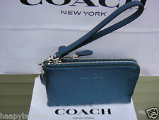 NEW WITH TAG COACH PEBBLED LEATHER DOUBLE CORNER ZIP WRISTLET .$100% AUTHENTIC
