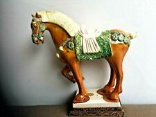 """BEAUTIFUL ANTIQUE CHINESE H/PAINTED POTTERY STATUE FIGURINE HORSE 10""""H x 10.75""""W"""