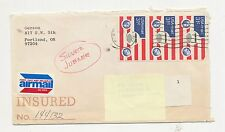 US  Stamps Scott # C 90 US AIRMAIL 31 Cent 3 stamps on cover stamped insured