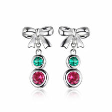 1.2ct  Ruby & Emerald Bow Dangle Earrings Solid Sterling Silver Silver 925 Gift