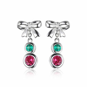Ruby & Emerald Bow Dangle Earrings Solid Sterling Silver Silver 925