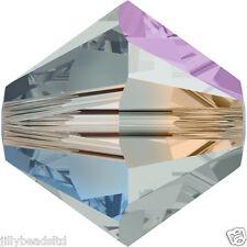 SWAROVSKI 5328 XILION Bicone Beads 4mm: BLACK DIAMOND AB 2X (50 Perline)