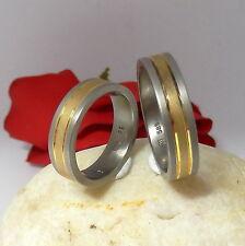 2.Eheringe / Verlobungsringe Trauringe aus Titan und 585 Gelbgold RG 53 + 63 NEU
