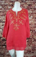 JM Collection  Red Linen Boho Sequins Tunic Top Shirt Blouse Size Petite M
