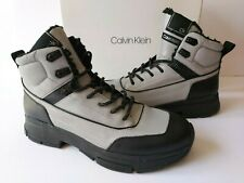Calvin Klein Cillian Silver Black High-Top Leather Sneakers Mens 11 Boots $189