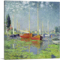ARTCANVAS Yachts - Red Boats at Argenteuil 1875 Canvas Art Print by Claude Monet