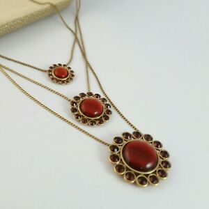 Pilgrim Danish 3 strand red cabochon and garnet red crystal gold tone necklace