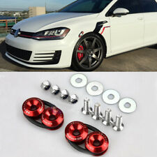 2x Car Bumper Fender JDM Quick Release Trunk Hatch Lid Aluminum Fastener Kit Red