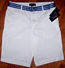 NWT Polo Ralph Lauren Classic Flat-Front WHITE Dress Shorts Blue BELT 18 Boys
