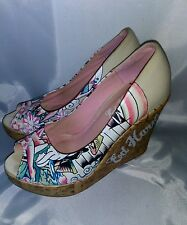 "Ed Hardy Shoes For Women Casablanka Platform & Wedges  Size 8 ""S"""