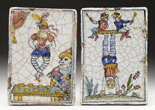 Poco COMÚN PAR Antiguo Italiano Mayólica Azulejos con artistas temprano 19TH C.