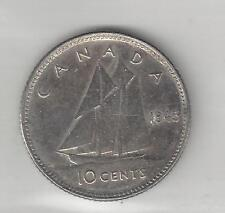 CANADA,  1945,  10 CENTS,  SILVER,  KM#34,  ALMOST UNCIRCULATED