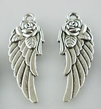 8pcs Tibetan Silver Rose Flower Angle Wings Charms Crafts Pendants 11.5x31mm