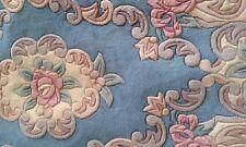 """Nouveau 100% laine Chinois Tapis Tapis bleu 5""""x 3 FT """"Ovale Roses Motif Floral"""