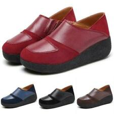 Women Leather Wedge Heel Slip On Comfy Loafers Platform Creeper Shoes Size 35-43