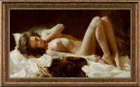 "Hand painted Original Oil Painting art Portrait bed nude girl on canvas 24""X40"""