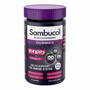 Sambucol Black Elderberry Gummies For Kids Support Immune System Vit. C Vegan