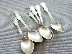 6 Sterling Silver Demitasse Spoons Louis XV Pattern Unknown Maker? (57330)