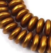 50 Czech Glass Rondelle Beads - Matte Metallic Antique Gold 6x2mm