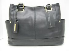 Tignanello NWT $155 Black Leather Shopper Handbag Pretty Pockets Gold Hardware