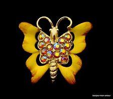 Aurora boreal pedrería y, amarillo tostadores mariposa broche, broche