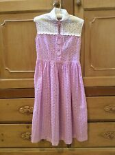 Fabulous Vintage 30s-40s Cotton Lace Dress Lilac/White Covered Buttons Side Zip