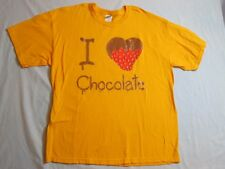 """Gold T-Shirt Top Strawberry Heart """"I Love Chocolate"""" Cotton Mens Ladies  XL"""