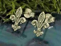 Fleur de Lys Ohrstecker 925 Sterling Silber Lilie Königslilie Ohrschmuck
